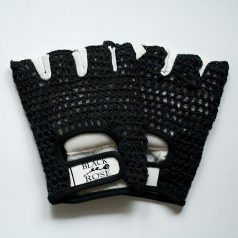 RUKAVICE ČIERNOBIELE - KOŽENÉ - Sieťkované rukavice - bezprstové