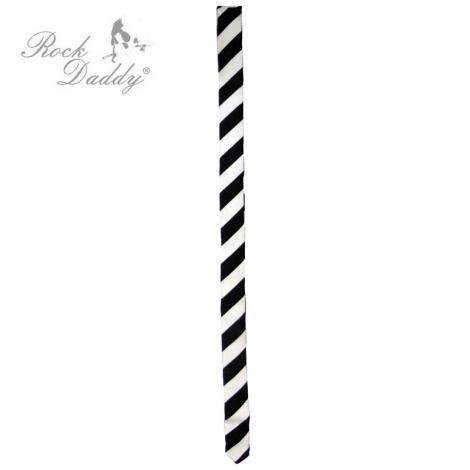 ČIERNE A BIELE PRUHY (šikmé) - Kravata s čiernymi a bielymi pruhmi
