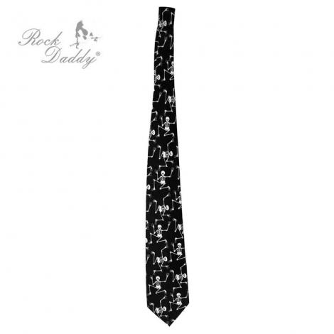 KOSTRIČKY (široká) - Čierna kravata s bielymi kostričkami