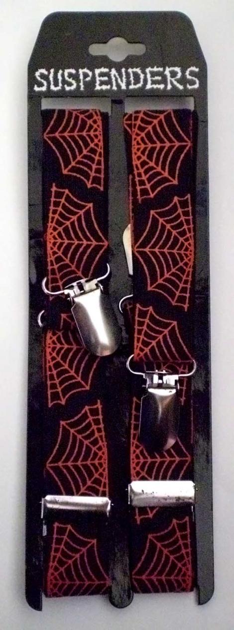 PAVUČINA (úzke) - Čierne traky s červenou pavučinou