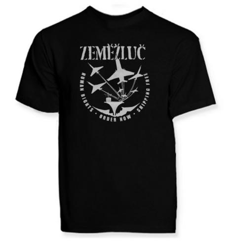 ZEMĚŽLUČ - Čierne pánske tričko s bielou potlačou