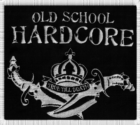 OLD SCHOOL HARDCORE - VÝPREDAJ - Biele logo na čiernom podklade