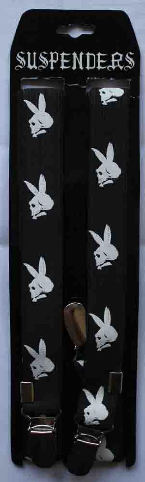 PLAYBOY LEBKY (úzke) - Čierne traky s bielymi lebkami