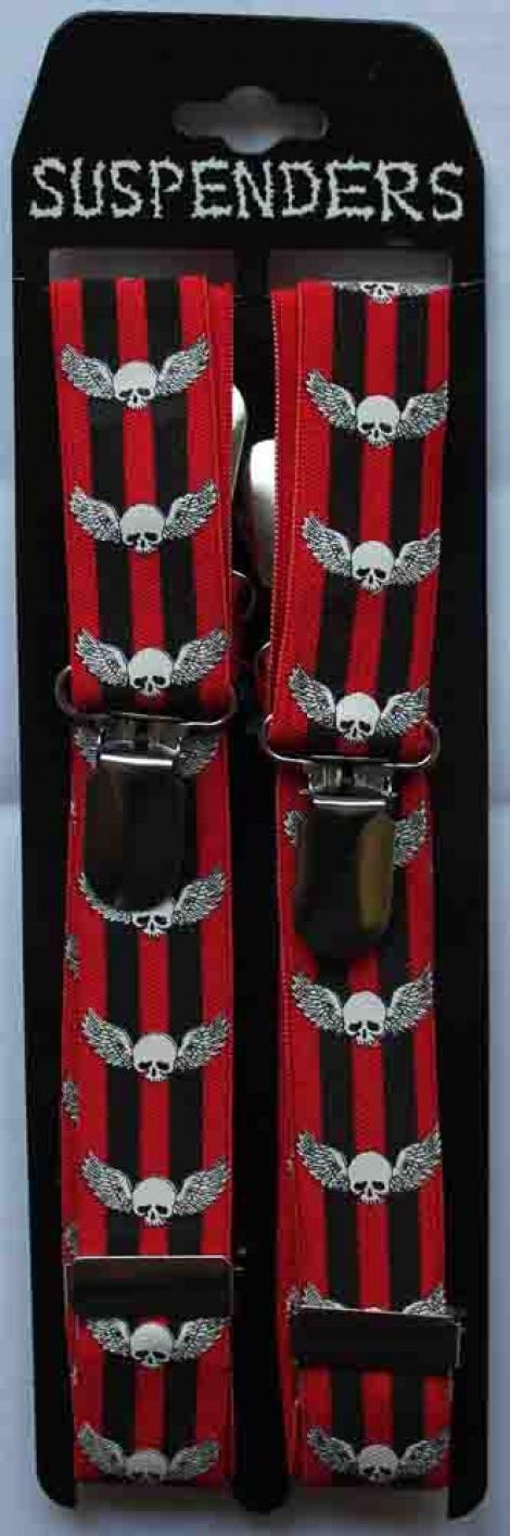LEBKY S KRÍDLAMI (úzke) - Červeno-čierne traky s bielymi lebkami