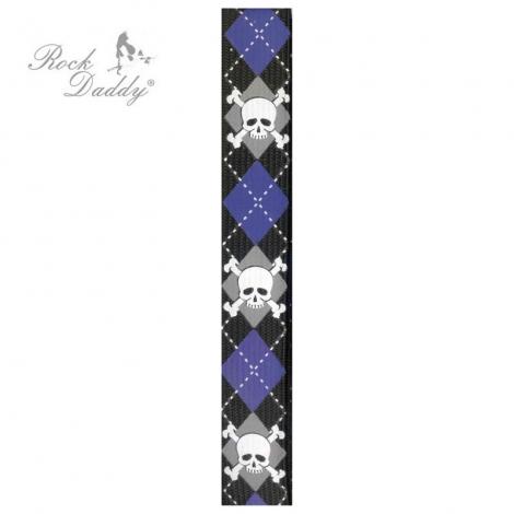 LEBKY S HNÁTMI (úzke) - Čierne s lebkami s fialovo-sivým vzorom