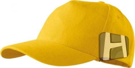Žltá 5P šiltovka - Tkaninový vrch, plná